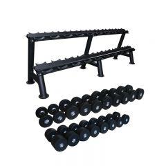 primal strength stealth dumbbell set 2.5-25kg with rack