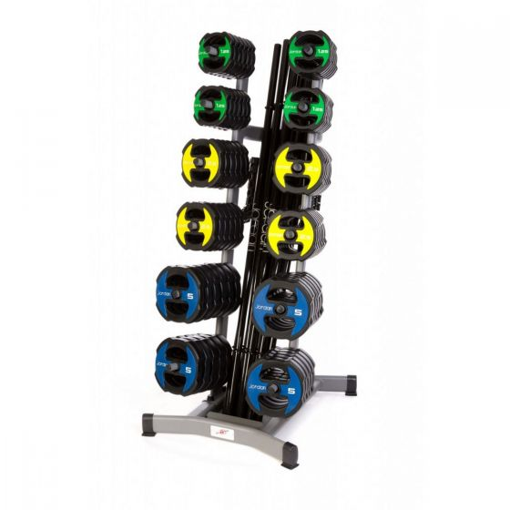 12 x Jordan Ignite V2 Urethane Studio Barbell Sets & Rack - Colour Coded