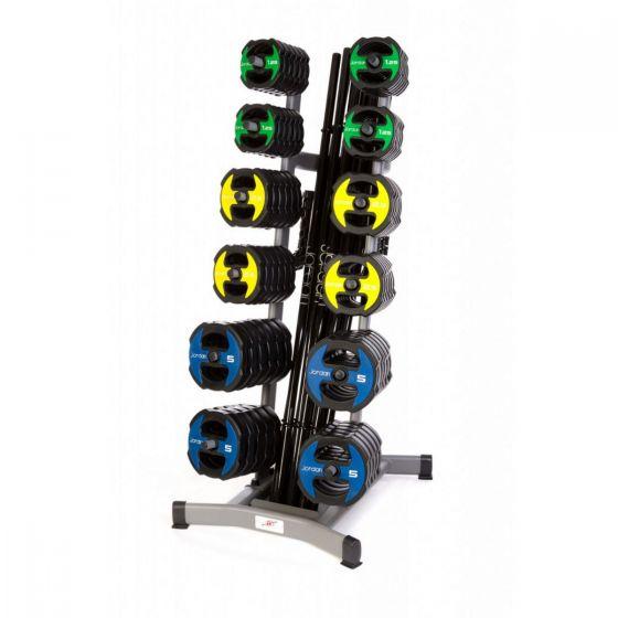 12 x Jordan Ignite V2 Urethane Studio Barbell Sets & Rack - Colour Coded