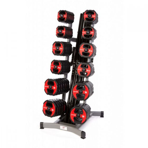 12 x Jordan Ignite V2 Urethane Studio Barbell Sets & Rack - Black/Red