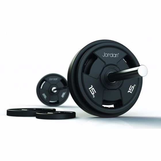 140kg Jordan Classic Rubber Olympic Disc Set & Bar