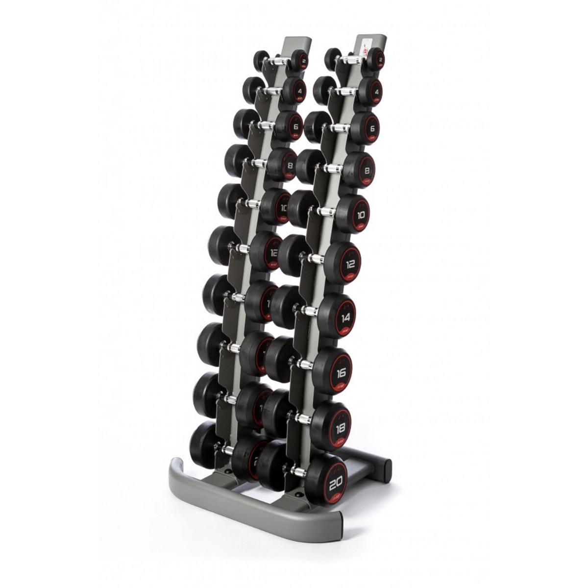 Jordan Rubber Dumbbell Set 2.5-25kg & Rack