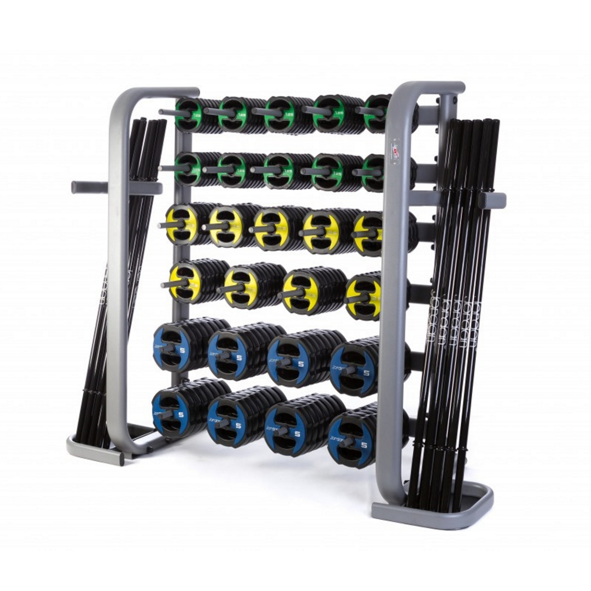 30 x Jordan Ignite V2 Urethane Studio Barbell Sets & Rack - Colour Coded