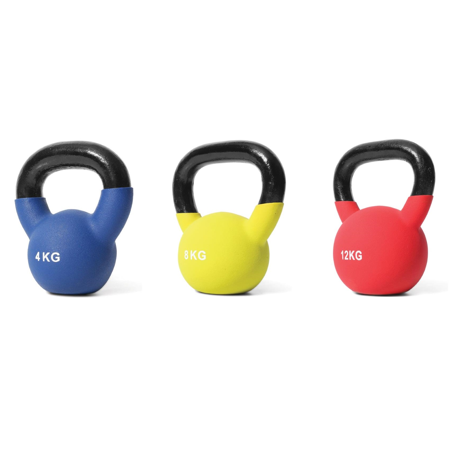 Coloured Neoprene Beginner Kettlebell Set (1 x 4kg, 1 x 8kg, 1 x 12kg)