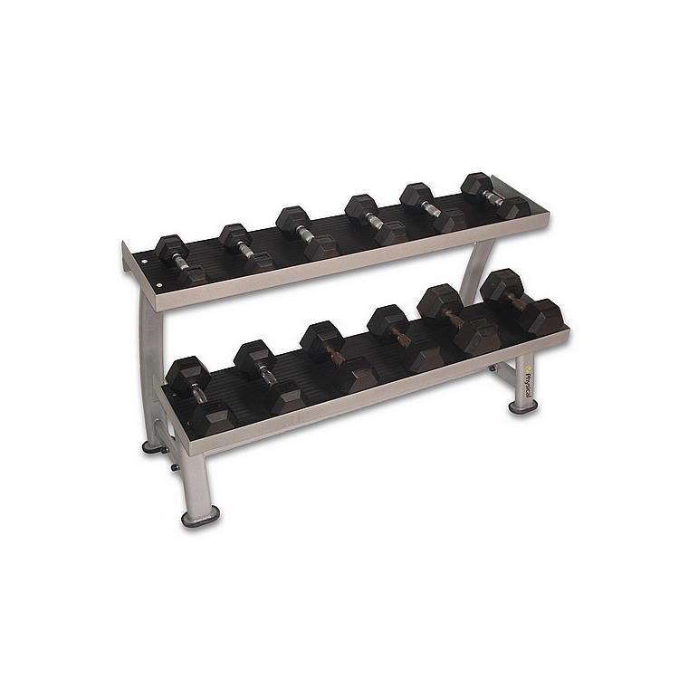 4-15kg Rubber Hex Dumbbell Set & Rack
