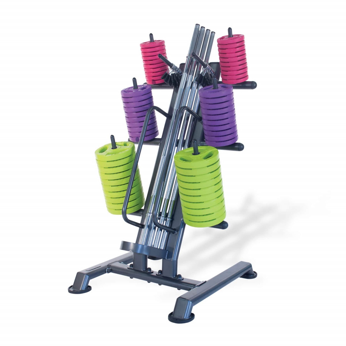 12 x Studio Pump Sets & Rack (Chrome Bar / Coloured Discs)