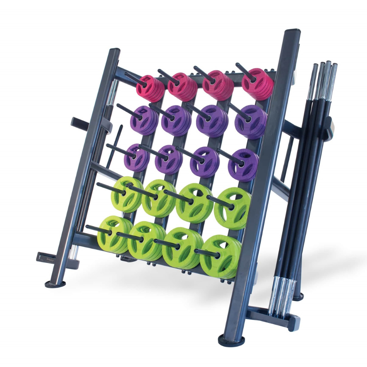 30 x Studio Pump Sets & Rack (Black Bar / Coloured Discs)