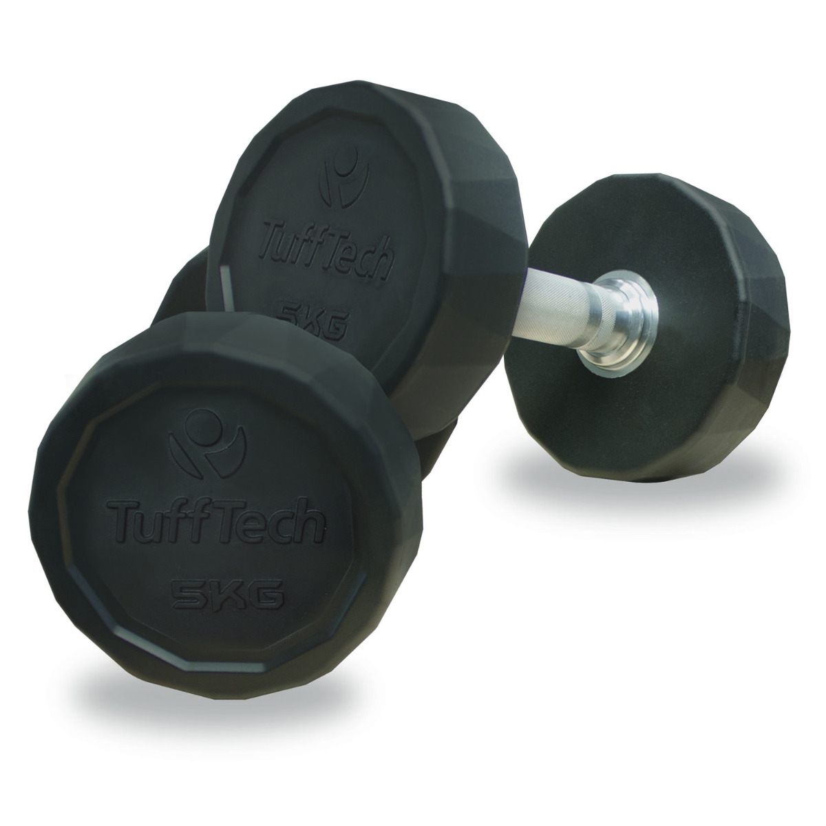 Pair of 8kg Rubber Dumbbells