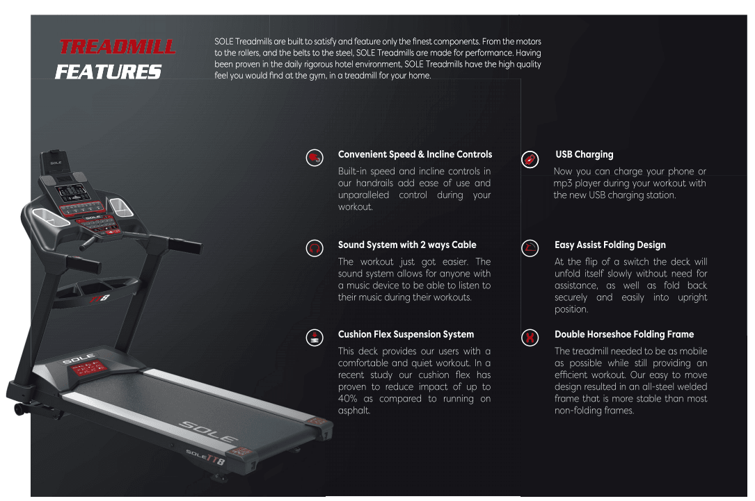 sole treadmill features