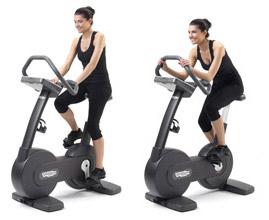 women on exercise bike